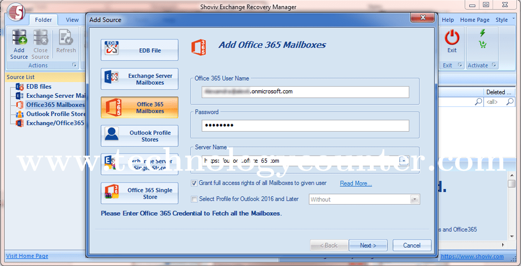 Shoviv Office 365 to PST Converter Software