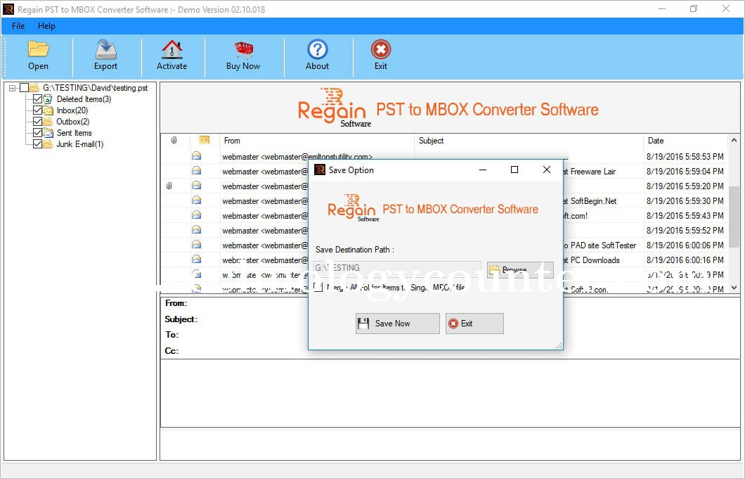 Regain PST to MBOX Converter Software