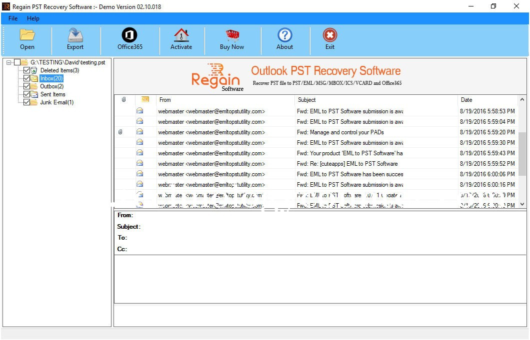 Regain Outlook PST Recovery Software