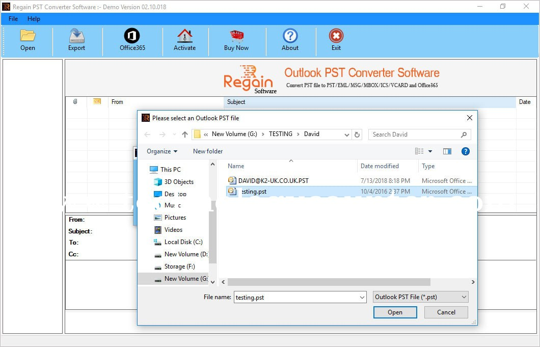 Regain Outlook PST Converter Software