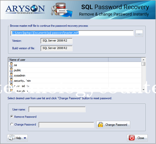 Aryson SQL Password Recovery