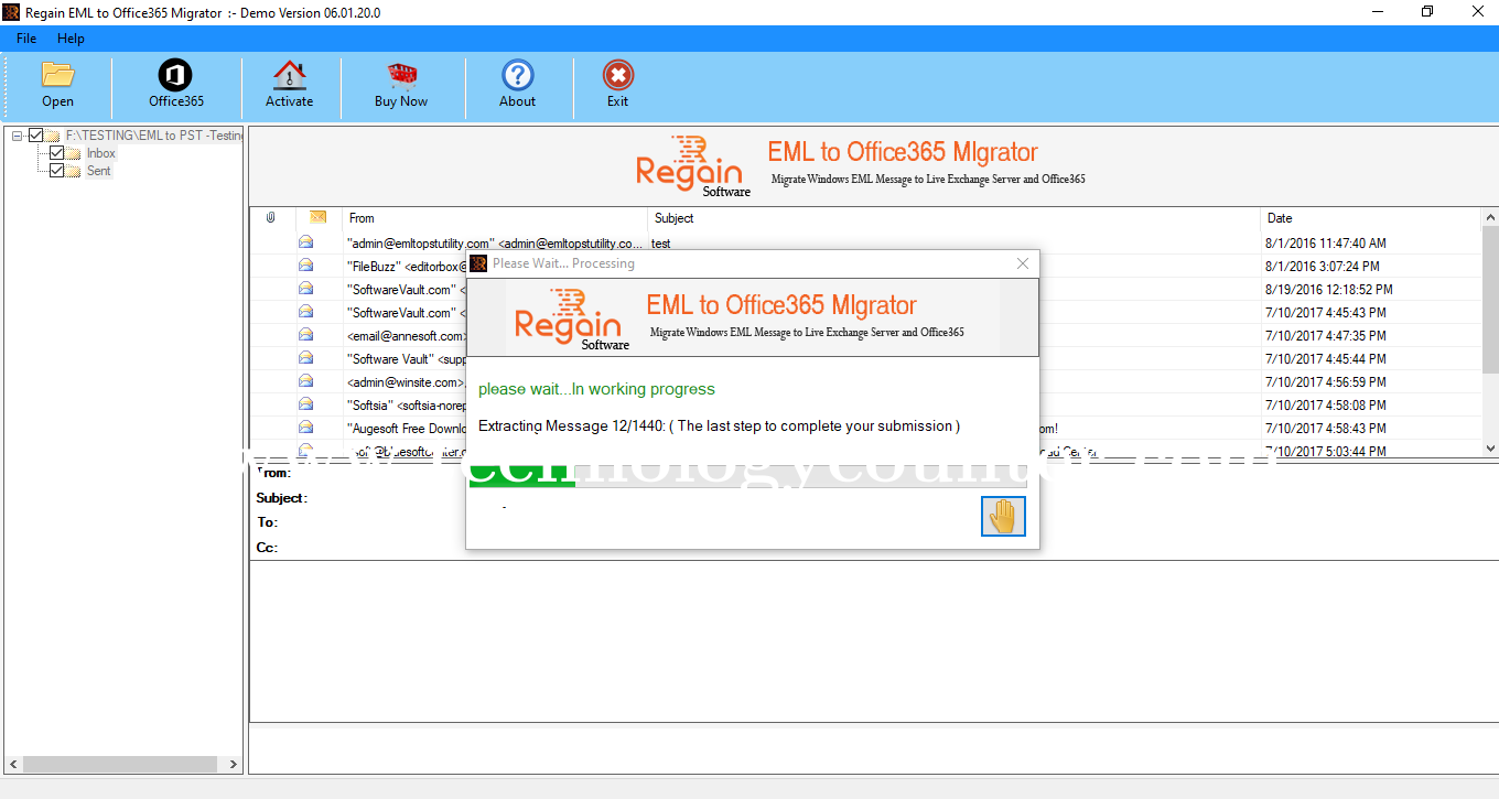 Regain EML to Office 365 Migrator