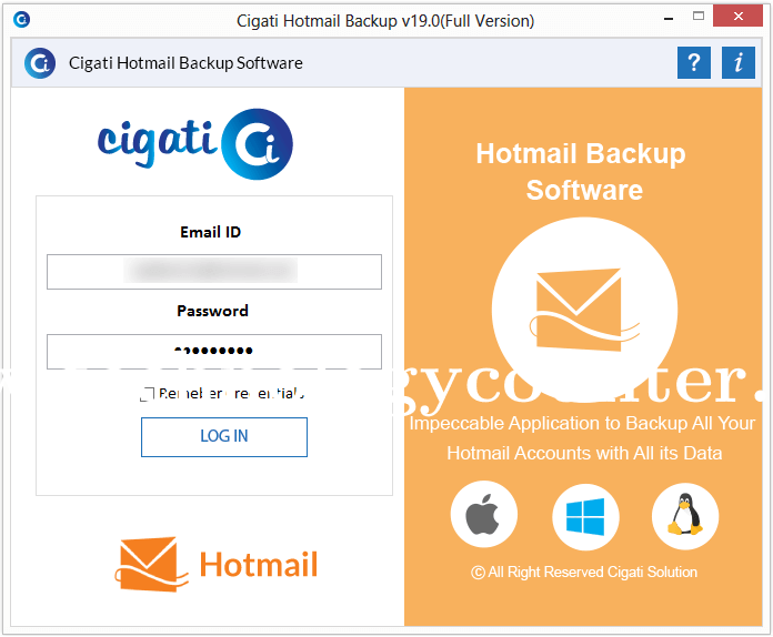 Cigati Hotmail Backup Software