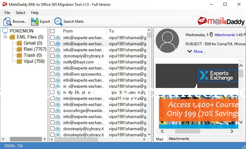 MailsDaddy EML to Office 365 Migration Tool