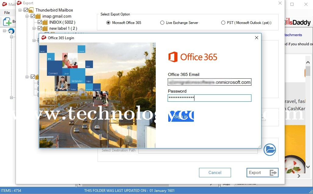 MailsDaddy Thunderbird To Office 365 Migration