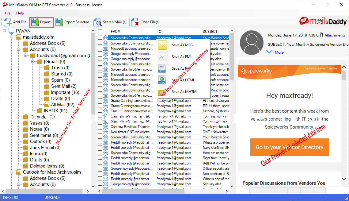 MailsDaddy OLM to PST Converter Tool