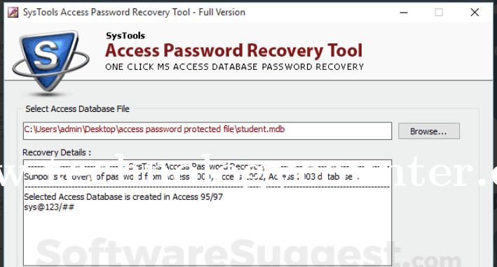 SysTools Access Password Recovery