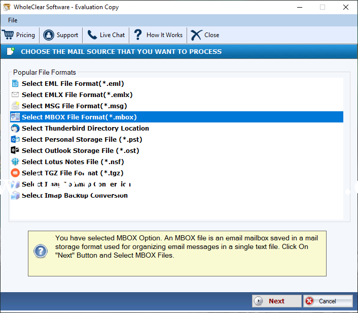 WholeClear MBOX to IMAP Converter