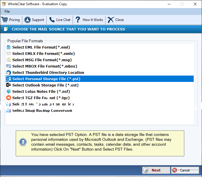 WholeClear PST to IMAP Converter