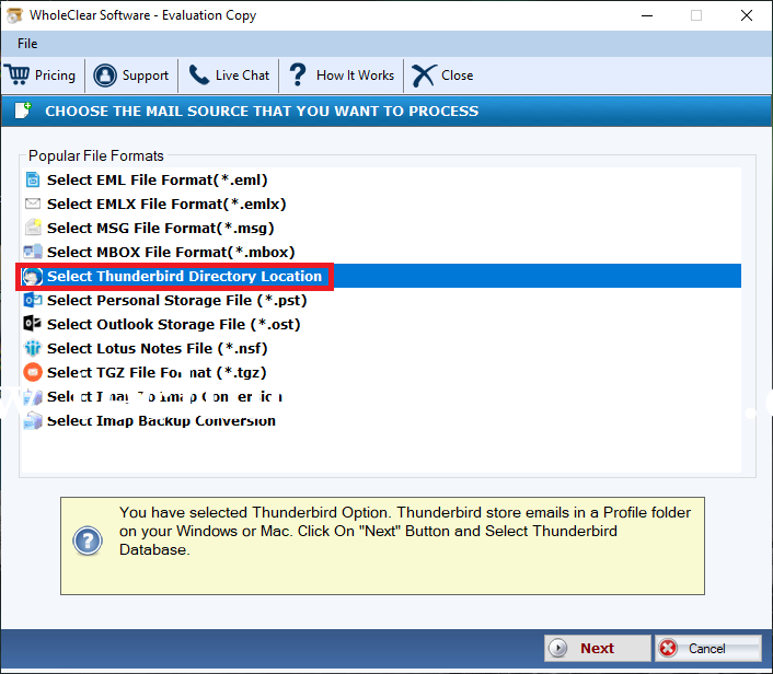 WholeClear Thunderbird to EML Converter