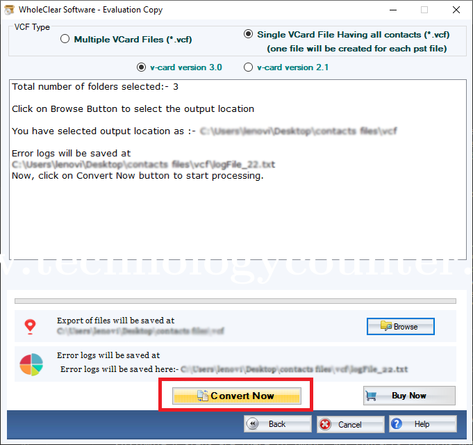 WholeClear Excel to vCard Converter
